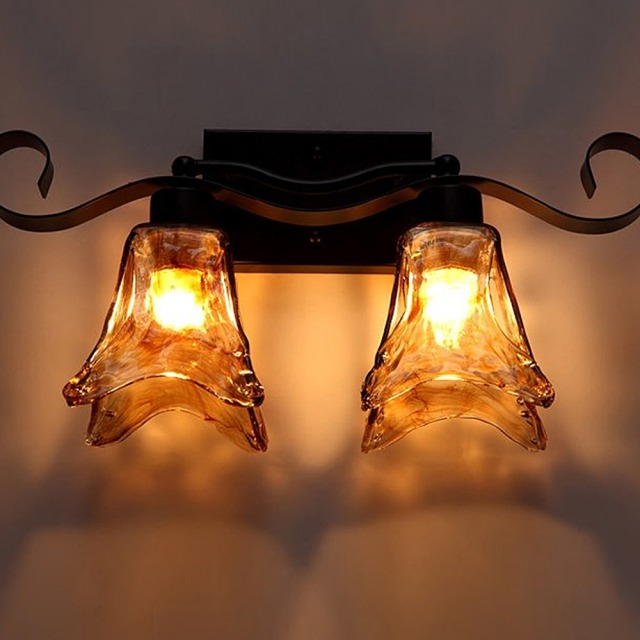 europe style flower design art wall lamp strip amber glass metal wall sconce vintage wall light - Wall Lamps Design