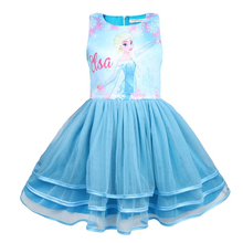 Anna Elsa Baby Cute Cosplay 2018 the New Dresses Kids Party Christmas Costumes Children Snow Queen Clothes Princess Girls Dress цена