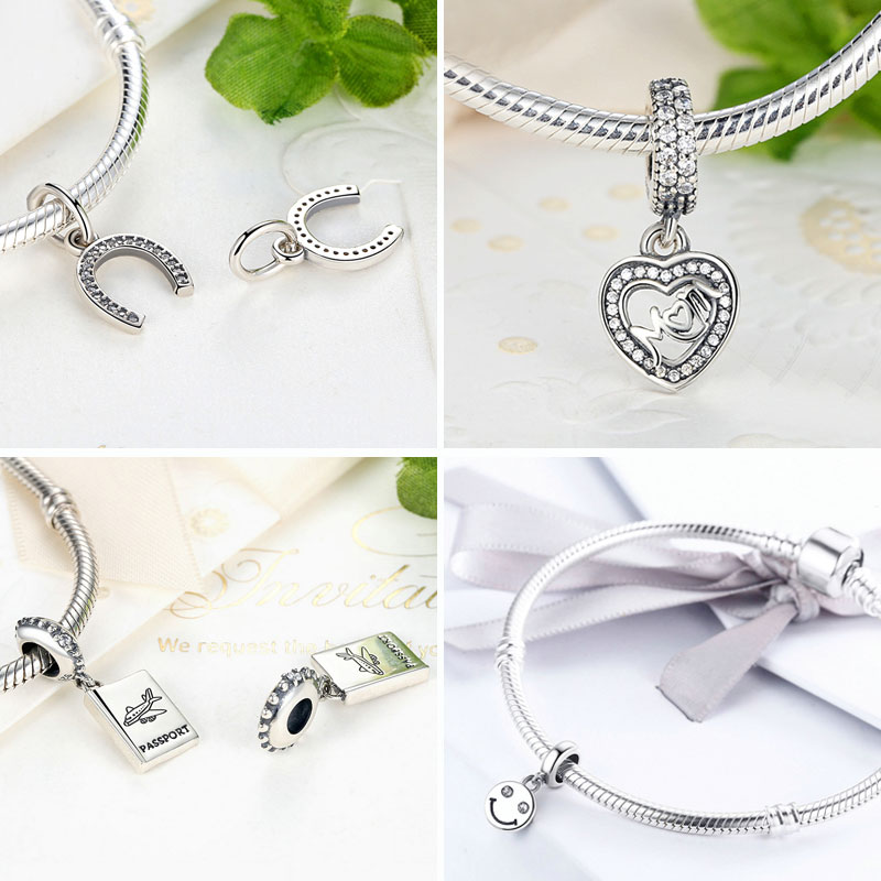 BISAER 925 Sterling Sølv Angel Wings Radiant Orchid Blændende Daisy - Mode smykker - Foto 4