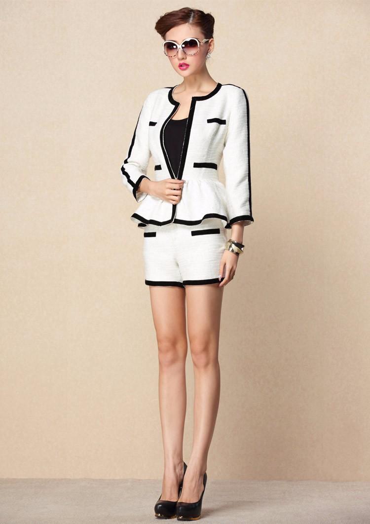 High-end Black White Patchwork Ruffle Decoration Blazer and Short Pants Women Suits Autumn 2015 (7)