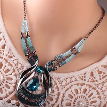 Fashion Trendy Bridal Jewelry Set Women Blue Water Drop Pendant Necklace Earring Set Lady Gifts цена 2017