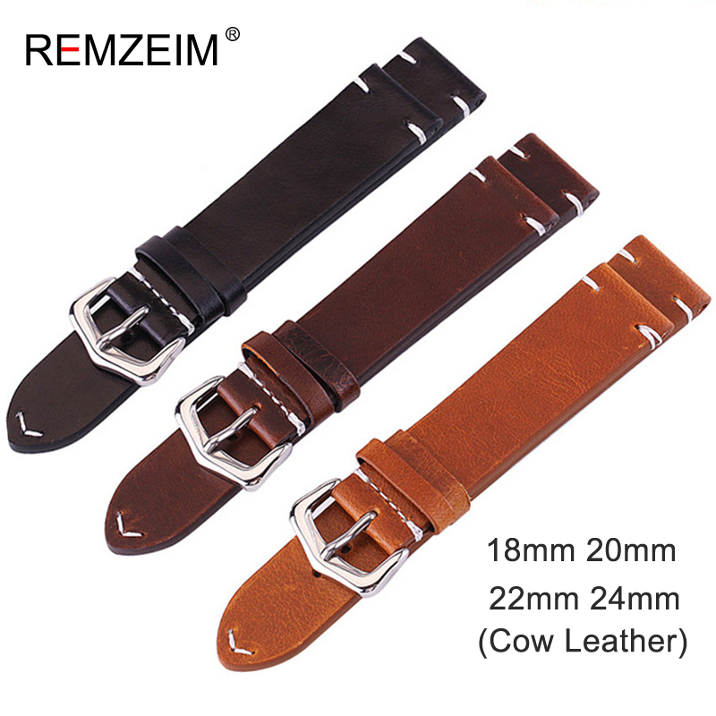 Leather Watchband 18mm 20mm 22mm 24mm Genuine Leather Watch Band Vintage Cowhide Strap Watch Accessories Silver Buckle Strap цена