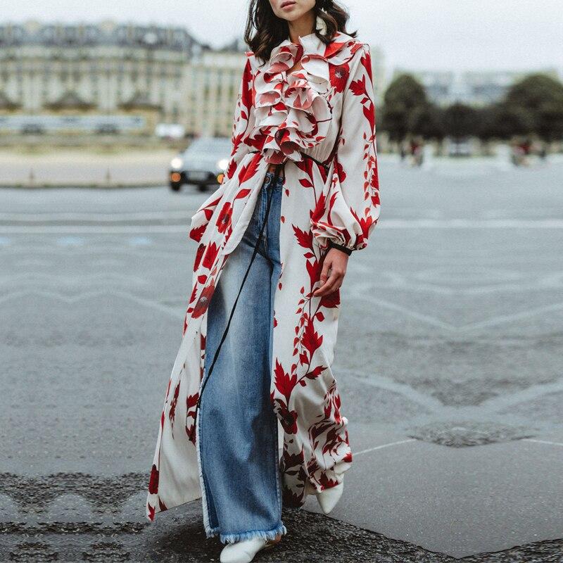 عالية الجودة جديد الأزياء 2019 المدرج اللباس المرأة طويلة الأكمام عارضة الأزهار طباعة الكشكشة الشق فستان طويل-في فساتين من ملابس نسائية على  مجموعة 1