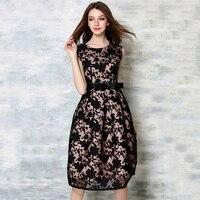 New Summer Lace Women S Vestido Casual O Neck Dresses Black Robe For Female Sleeveless Hollow