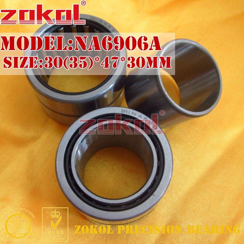ZOKOL bearing NA6906 A NA6906A Entity ferrule needle roller bearing 30(35)*47*30mm na4910 heavy duty needle roller bearing entity needle bearing with inner ring 4524910 size 50 72 22