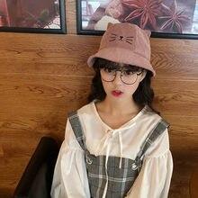 10pcs lot 01801-pei4110 corduroy character cute cat ear leisure cap men  women bucket hat wholesale 29a01f449cb6