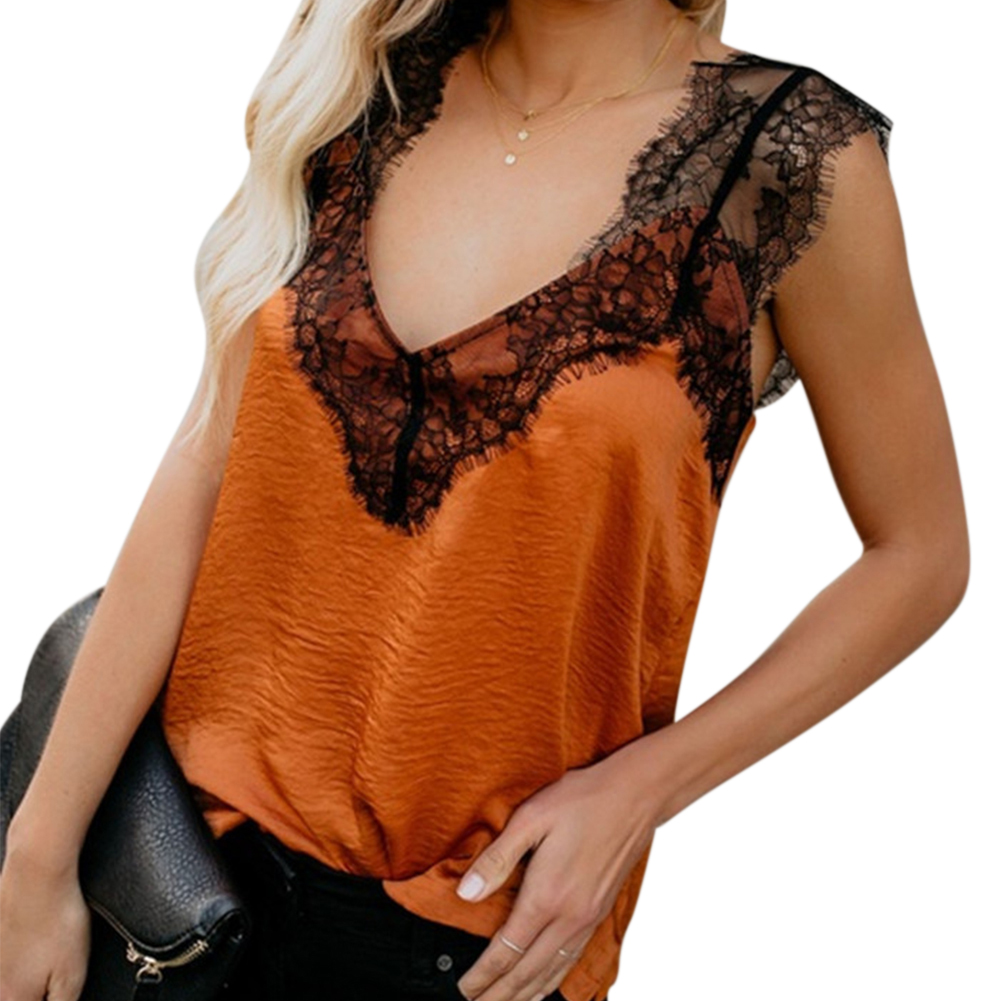 Buy Fashion Sleeveless Sexy Tank Top Summer Travel Stretchy Loose Pullover Solid Women Camisole V Neck Casual Lace Up for only 9.2 USD