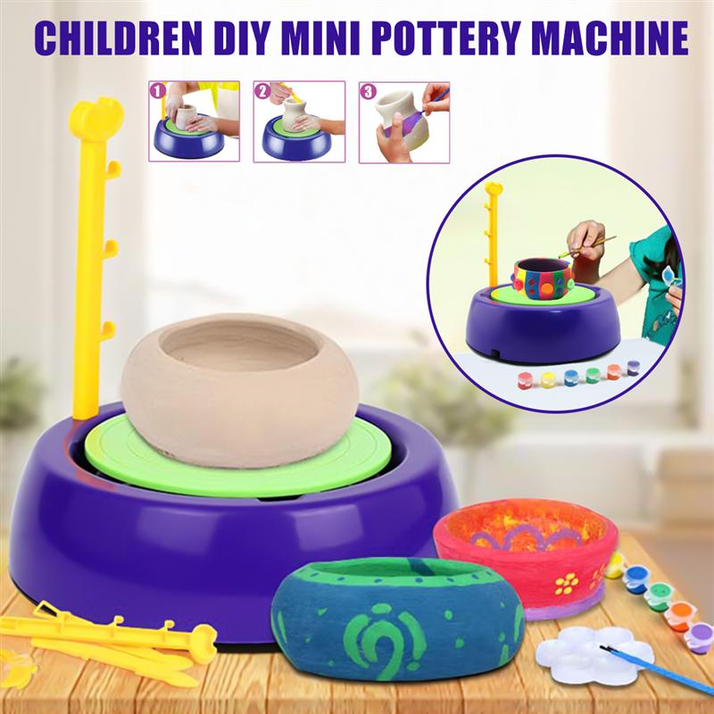 Mini DIY Handmake Ceramic Pottery Machine Pottery Wheels Kids Arts Craft Educational Gift Toy For Children