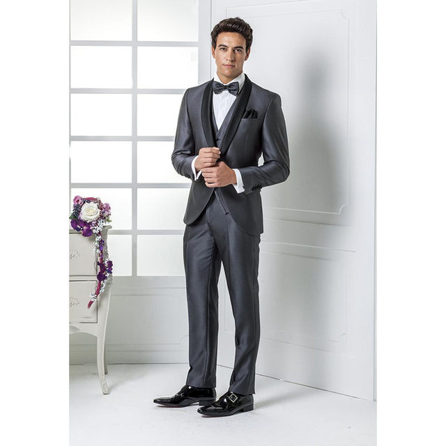 Online Shop Custom Made Hot Sale Grey Wedding suits Italian mens ...