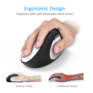 Image 2 - Delux M618SE 2.4G Wireless White Mouse 6 Buttons Ergonomic Vertical Optical Office USB Mice For Windows 2000/XP/Vista/7/8/10