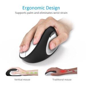 Image 2 - Delux souris optique ergonomique verticale sans fil M618SE 2.4 ghz, 6 boutons, pour bureau USB, Windows 2000/XP/Vista/7/8/10