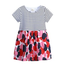 Hot Sale 1-6 Years Girls Short Sleeve Yellow Stripe Summer Unicorn Party Dress Cotton Casual Dresses Kids Clothing