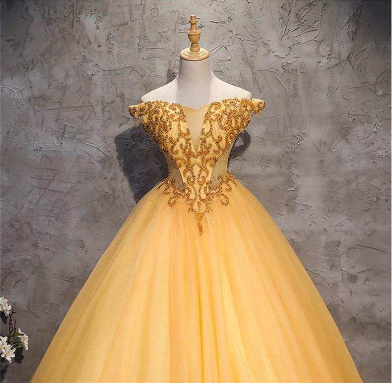 JaneVini luxe perlée or robe de bal robes de bal 2019 hors épaule longueur étage élégant gonflé Tulle Pageant robes de soirée formelles - 4
