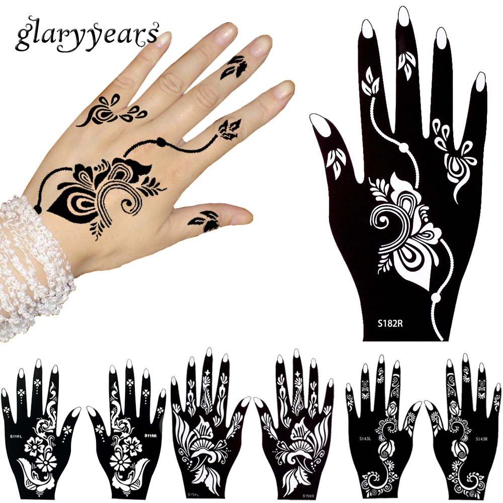 Glaryyears 32 Designs 1 Pair Flower Lace Hands Henna Stencil Glitter Hand Towel Anak Character 5 Pairs Indian Mehndi Style Tattoo Template Airbrush Painting Finger Art