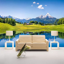 Foto Kertas Dinding Modern Snow Mountain Meadow Lakeside Mural Wallpaper untuk Dinding 3D Ruang Kamar Tidur Home Decor Wall(China)