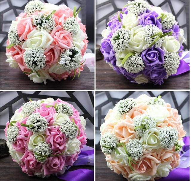 Artificial PE Rose Gypsophila Bride Bouquet Flower Ball With Ribbon ...