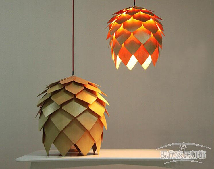Wholesale new modern novelty creative pine cone pendant light lamp wholesale new modern novelty creative pine cone pendant light lamp wood lampshade pendant lighting lamp for home living room in pendant lights from lights mozeypictures Choice Image