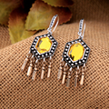 Indonesia Jewelry Yellow Blue Geometric Drop Earrings Antique Gold Plated Vintage Bullet Tassel Pendant Nation Earrings