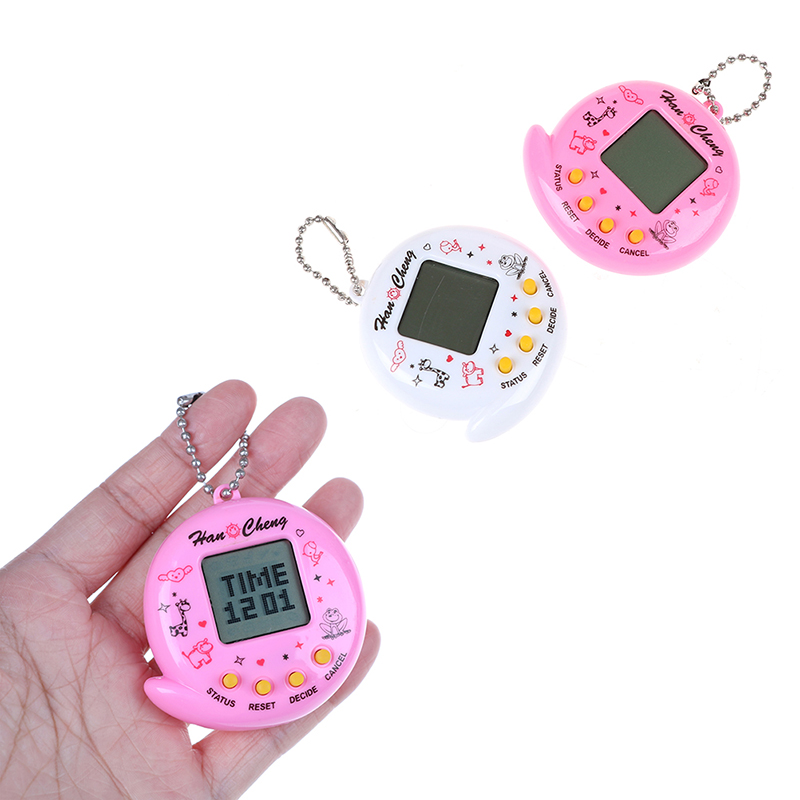 1PC Portable Mini Electronic Pets Game Machine Keychain Virtual Pet Toy For Parent-Child Interactive Educational Keyring