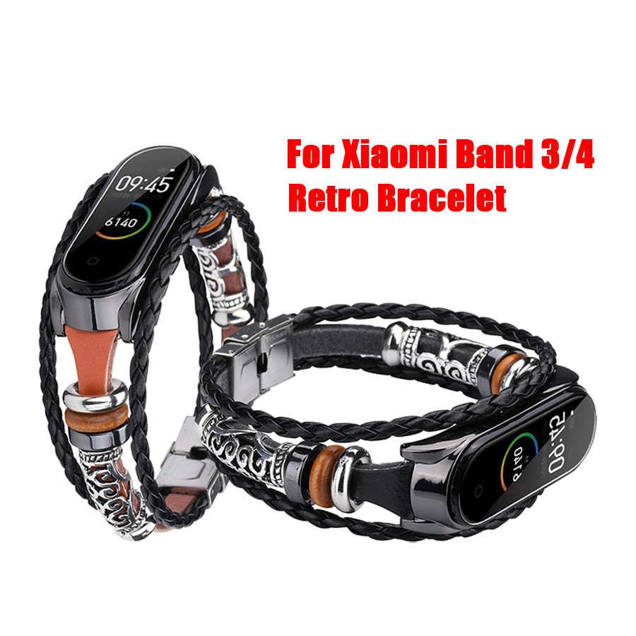 Wrist Strap For Mi Band 4 Diy Retro Leather Band Bracelet For Xiaomi Mi Band 3 4 Wristband Accessories For Mi Band 3 Bracelet Smart Accessories Aliexpress