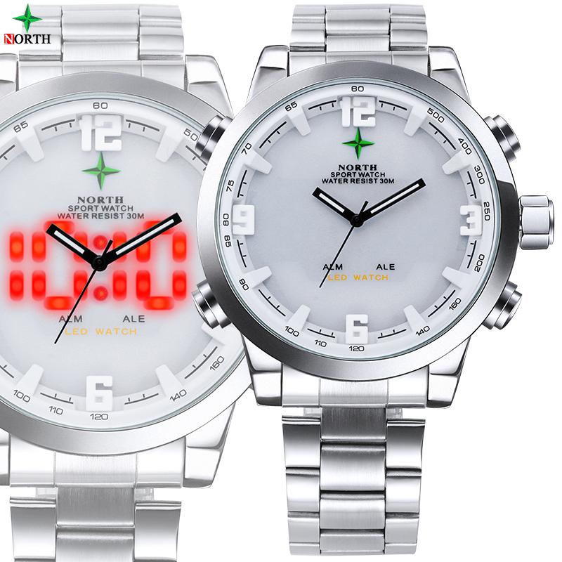 Prix pour Top Marque De Luxe Hommes Sport Montre 2017 Étanche Véritable En Cuir Rond Analogique Homme Montre-Bracelet LED Numérique Quartz Sport Montre Hommes
