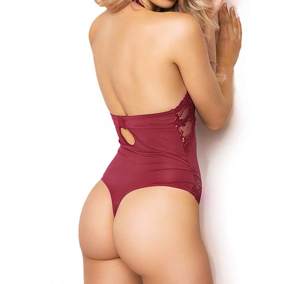 Womens Lingerie Lace Teddy One Piece Mesh Halter Bodysuit Babydoll Thong Underwear
