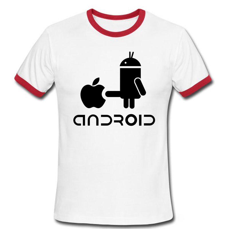Fashion Men T Shirts Android Robot Male t shirt apple humor logo ...
