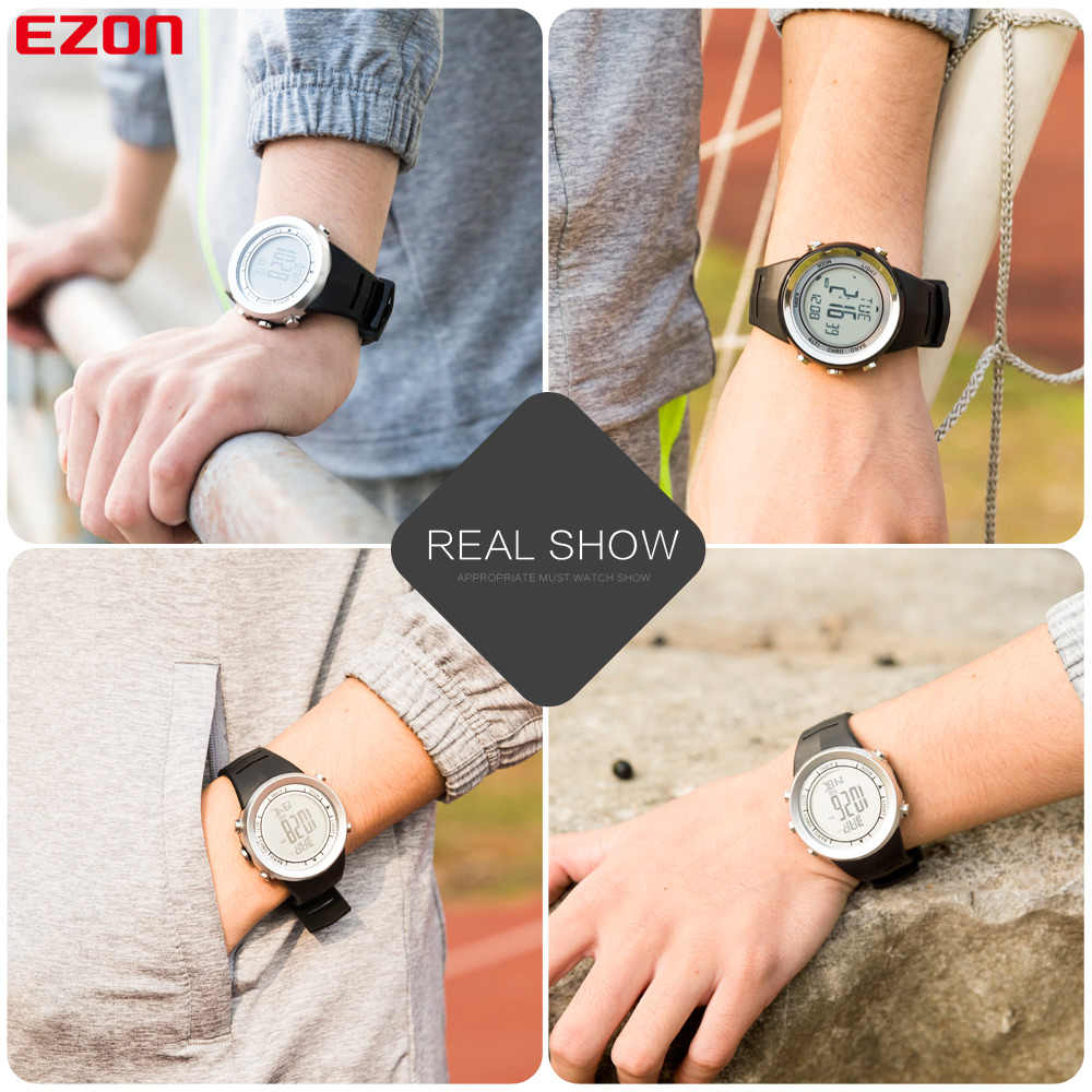 Free Shipping EZON H009A15 Outdoor Climbing Waterproof Sports Watch Altimeter Barometer Thermometer Mens Sport Watch Digital