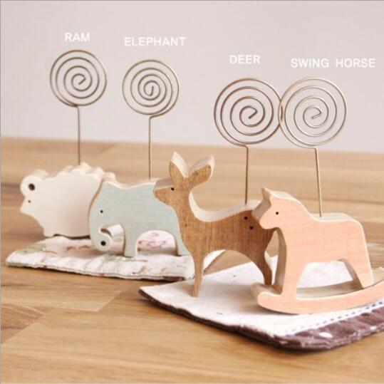 Cartoon Animal Kawaii Wood Horse Desk Note Folder Message Photo Paper Card Clip Stander Holder Home Decorations Birthday Gift