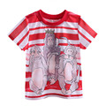 Pettigirl 2017 Summer New Style White and Red Boys Short Sleeves T-shirt Monkey Printed Kids Boy Casual Clothing BT90324-19L