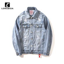 High Street Mens Denim Jackets Ripped Distressed Jeans Men Streetwear Outerwear Plus Size