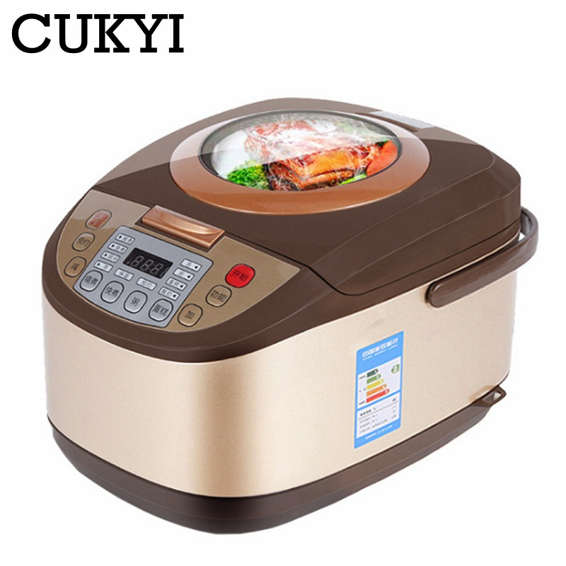 CUKYI Electric Rice Cooker 5L Timing Reservation Food Heating Pressure Cooking Steamer 2-8 People Soup Stew Pot Cake 24H EU US