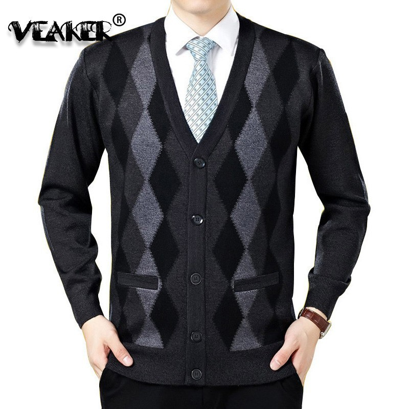 Casual Sweater Men Cardigan Outerwear V-Neck-Collar Slim-Fit Wool Male Fashion Bussiness