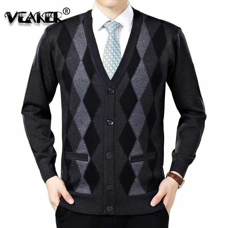 2018 New Men Cardigan Sweaters Fashion Wool Sweatercoat Knitwear Male V-Neck Collar Slim Fit  Bussiness Casual Sweater Outerwear