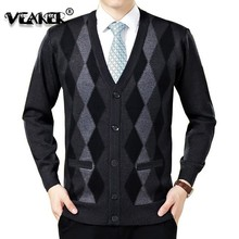 2018 New Men Cardigan Sweaters Fashion Wool Sweatercoat Knitwear Male V-Neck Collar Slim Fit  Bussiness Casual Sweater Outerwear(China)