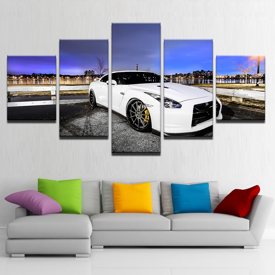 Embelish 5 Panels White Sports Car HD Print Canvas Pictures For Living Room Home Decor Modular Posters Wall Art Paintings Framed