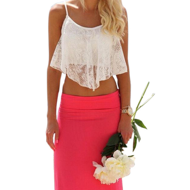 9877fd7060745 2016 Hottest 1PC Sexy Women Lace Loose Simple Sleeveless White Floral Crop  Top Bralette Bralet Shirt Cami Blouse Tank