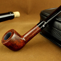 Black Bruyere Straight Type Food grade Plastic Mouthpiece Smoking Pipe Wooden Tobacco Pipe W/ 9mm Filter Element