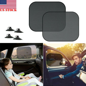 Car Side Window Rear Shade Black Mesh Sun Shade Visor Anti-UV Cover Shield For Baby Kids image