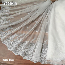40CM Wide HOT Embroidery White flower lace fabric trim ribbon DIY sewing tulle applique collar dubai wedding guipure dress decor цены