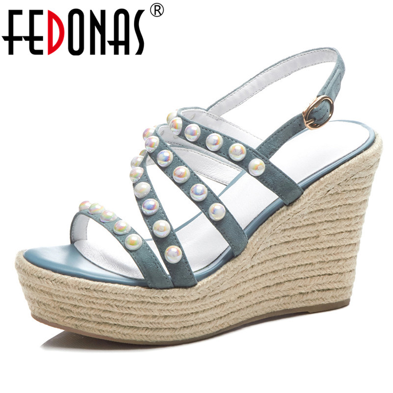FEDONAS Fashion Casual Women Wedges Heels Summer Suede Leather Pearl Sweet Sandals Prom Party Shoes Woman Comfortanle High HeelsFEDONAS Fashion Casual Women Wedges Heels Summer Suede Leather Pearl Sweet Sandals Prom Party Shoes Woman Comfortanle High Heels