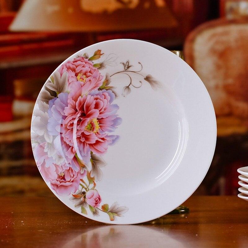 Vaisselle en porcelaine porcelaine 8 * pouce | Ensemble de vaisselle chinoise en céramique, assiettes de soupe profonde, assiettes de Sushi 6 pièces/ensemble - 2