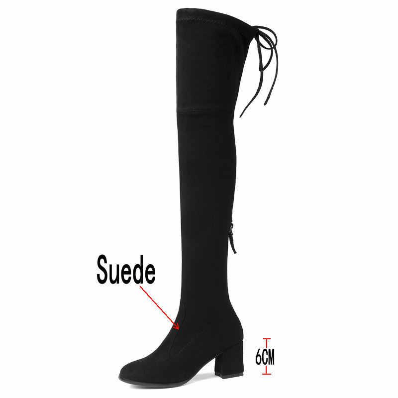 Tıknaz topuk uyluk çizmeler kadın streç çizmeler bayanlar kırmızı siyah diz üzerinde çizmeler kış ayakkabı kadın konfor kare ayak çizmeler