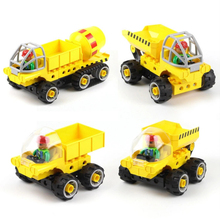 лучшая цена Big blocks shop truck 5 in 1 concrete Assembly model blocks educational children toys cars gift433