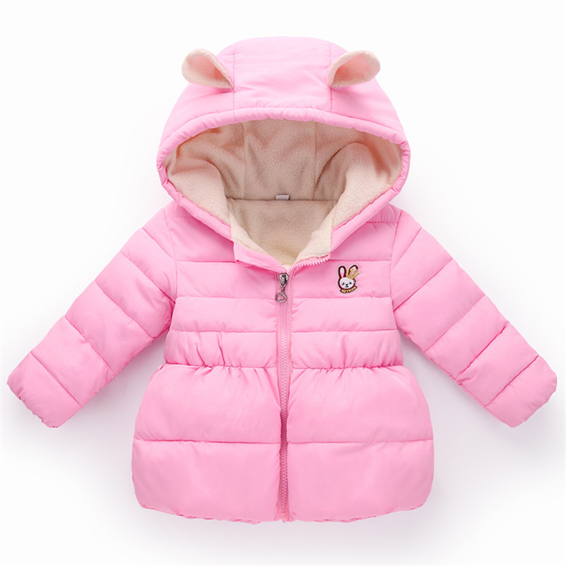 MBBGJOY Baby Girls Winter Coat Thick Fleece Jacket Hooded Cartoon Rabbit for 2-5T Kids Children Girl Clothes Zip Warm Coats 2016 winter boys wadded jacket kids hooded spider printed thick fleece red blue coat toddler warm outwear children clothes 2 4t