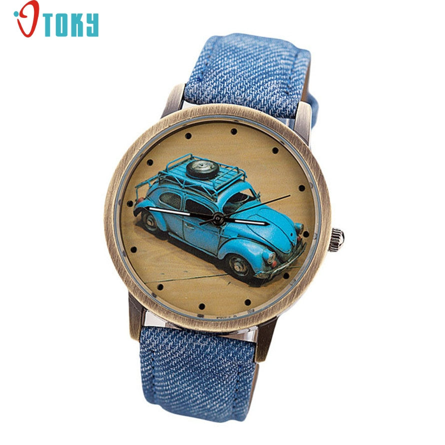 quartz wristwatches Willby Concise Fashion Men And Women Retro Car Pattern Denim Twill Strap Watch DEC12 fashionable purple twill pattern 8 5cm width deep blue tie for men
