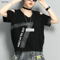 Jean Patchwork Tops Harajuku Cotton Tops Open Shoulder Women Hip Hop Tshirt Black Female Hollow Out Shirts plus size LT970S50