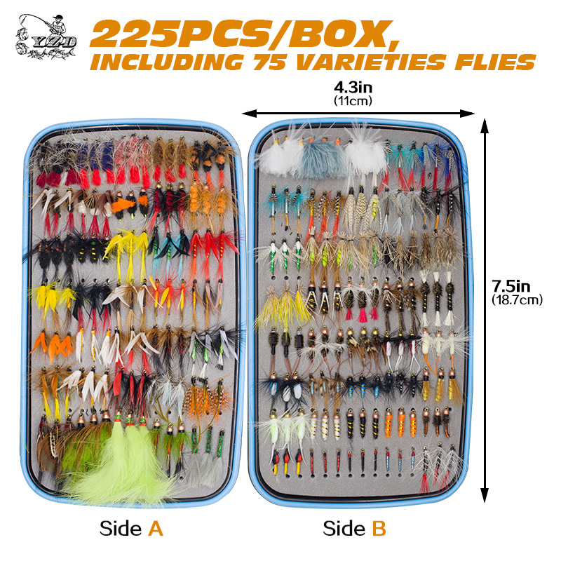 225pcs Wet Dry Fly Fishing Flies Lure Set Fly Tying Material  Wet hand tied Nymph Flies for Trout Pike 5sheets pack 10cm x 5cm holographic adhesive film fly tying laser rainbow materials sticker film flash tape for fly lure fishing