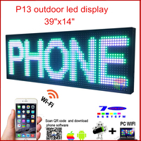 Светодиодный программируемый электронный P13 RGB цветной наружный знак, дисплей светодиодной 39 X 14 USB + телефон wifi управление открытое сообщен
