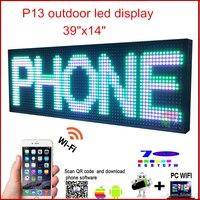 Светодиодный программируемый электронный P13 rgb цвет, вывеска светодиодный Дисплей 39 x 14 USB + телефон WI FI Управление открытым Бег Доски для за